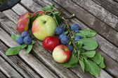 ベンチにりんごチェリー梨 — ストック写真