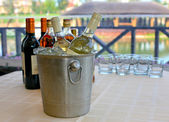 Wine brandy cognac on table — Stock Photo