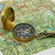 Compass and maps — Stock Photo