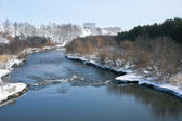 Winter landscape with river — Stock Photo