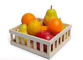 Fruit in wooden basket — Stock Photo