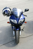 Dark blue motorcycle. — Stock Photo