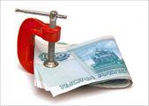 Banknotes and clamp. — Stock Photo