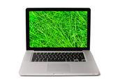 Notebook z mokrej trawy na ekranie — Zdjęcie stockowe