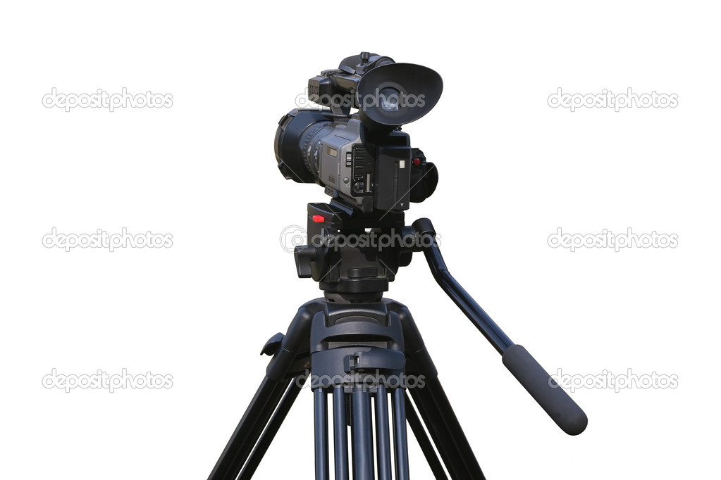 Professional videocamera on mount isolated. — Stock Photo #9880652