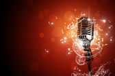 Retro microphone music background — Stock Photo