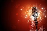 Retro microphone music background — Stock Photo