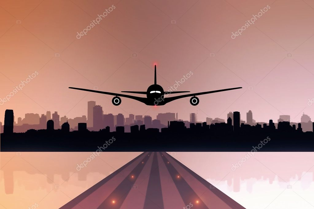 An airliner landing or taking off in the airport  Stock Photo #9932349