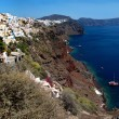 Coast of the island of Santorini - Stock Photo