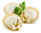 Dumplings, pelmeni, ravioli isolated on white. Clipping path — Stock Photo