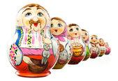 Ukrainian matrioshka doll isolated on white. Clipping path — Stock Photo