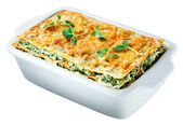 Spinach lasagna with basil and oregano Isolated. Clipping path — Stock Photo