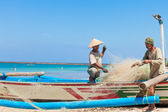Balinese fishermen — Stock Photo