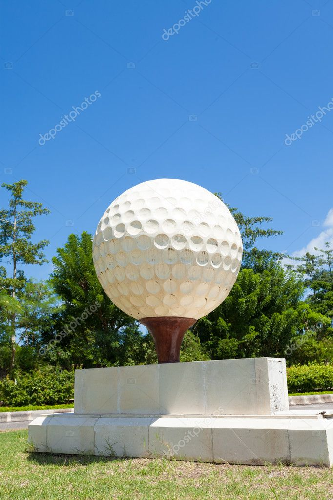 Large golf ball at the entrance of golf course in Bali, Indonesia. — Stock Photo #10631491