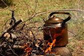 Acampamento chaleira no fogo — Fotografia Stock