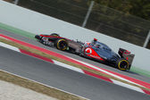 Jenson Button (GBR) McLaren MP4-27 join pit-line - 3th Testing d — Stock Photo