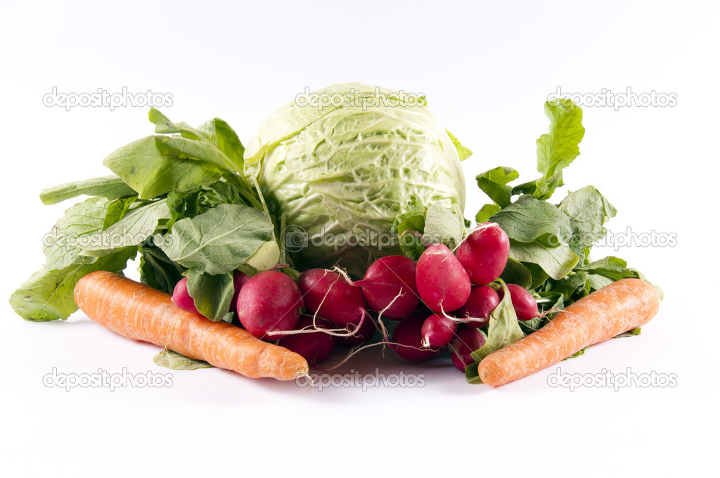 Carrots, cabbage and radish  isolated — Stock Photo #10196209
