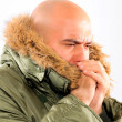 Stock Photo: Freezing guy
