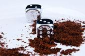 Kaffee und cubes — Stockfoto