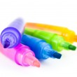 Five colorful highlighters — Stock Photo