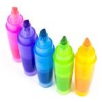 cinque evidenziatori colorati — Foto Stock