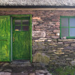 Historic Cottage Door and Window - Stock Photo