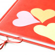 Three Hearts on a Diary — Stock Photo