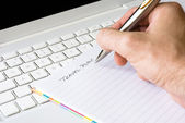 Hand writing travel plan — Stock Photo