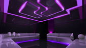 Purple electronic luxury room — Stock Photo