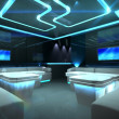 blue cyber interior room — Stock Photo