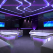 Purple cyber interior room — Stock Photo