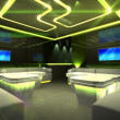 Yellow cyber interior room - Stock Photo
