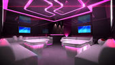 Pink cyber interior room — Stock Photo