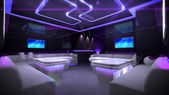 Purple cyber interior room — Stock Photo