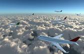 Airplane full on sky — Stock Photo
