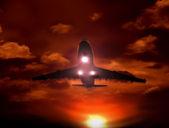 Sunset airplane — Stock Photo
