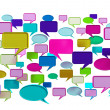 Many colorful conversation icons — Stock Photo #9779912