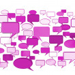 Many pink conversation icons — Stock Photo