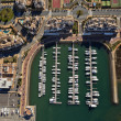 Aerial view of the marina of Isla Canela — Stock Photo