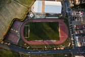 Aerial view of football pitch and athletics in Lepe — Stock Photo