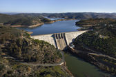 Aerial view over a dam — Stock Photo