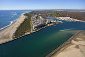 Aerial view of the beach of Isla Canela — Stock Photo
