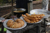 Fried green banana and other Vietnamese sweets from the street stands — Stock Photo