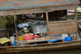 Cooking boat at Vietnamese floating market — Stock Photo