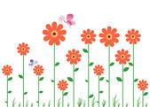 花の壁のステッカー — ストックベクタ