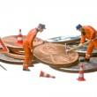 Miniature figures working on a heap of Dollar coins. — Stock Photo #9074682
