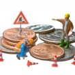 Miniature figures working on a heap of Dollar coins. — Stock Photo #9074687