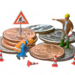 Miniature figures working on a heap of Dollar coins. — Stock Photo