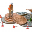 Miniature figures working on a heap of Dollar coins. — Stock Photo #9074688