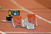 Empty starting blocks — Stock Photo